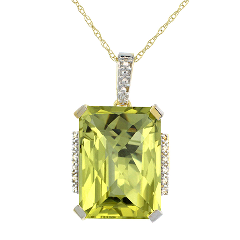 10K Yellow Gold Natural Lemon Quartz Pendant Octagon 16x12 mm & Diamond Accents