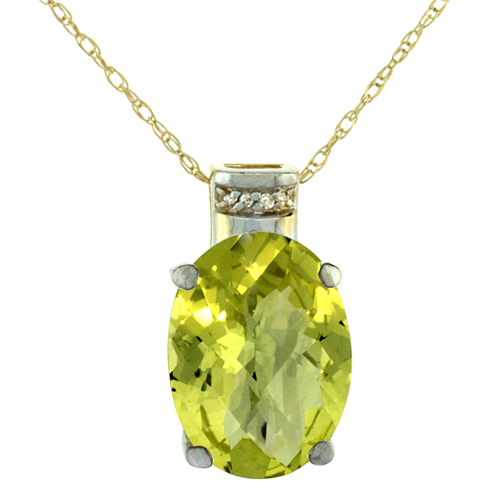10K Yellow Gold Diamond Natural Lemon Quartz Pendant Oval 14x10 mm