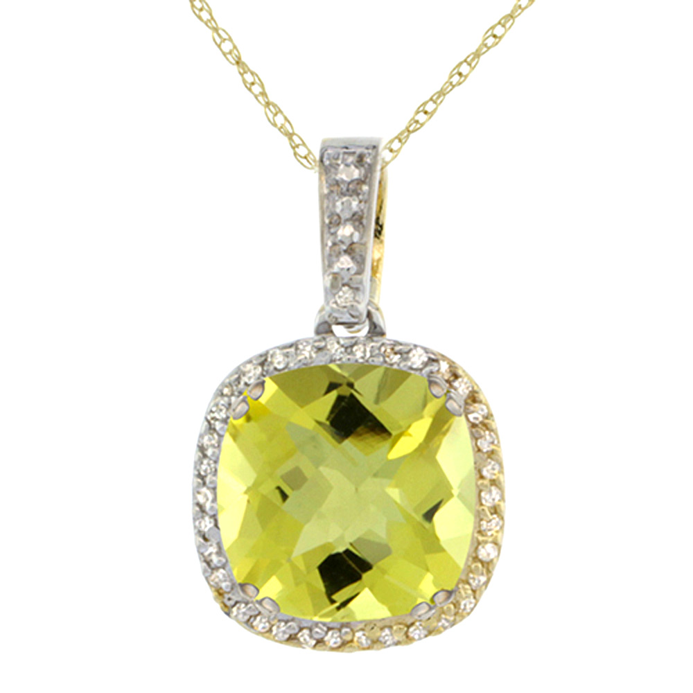 10k Yellow Gold Diamond Halo Natural Lemon Quartz Necklace Cushion Shaped 10x10mm, 18 inch long