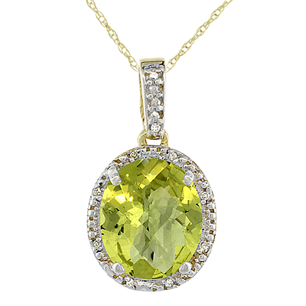 10K Yellow Gold Diamond Halo Natural Lemon Quartz Necklace Oval 12x10 mm, 18 inch long