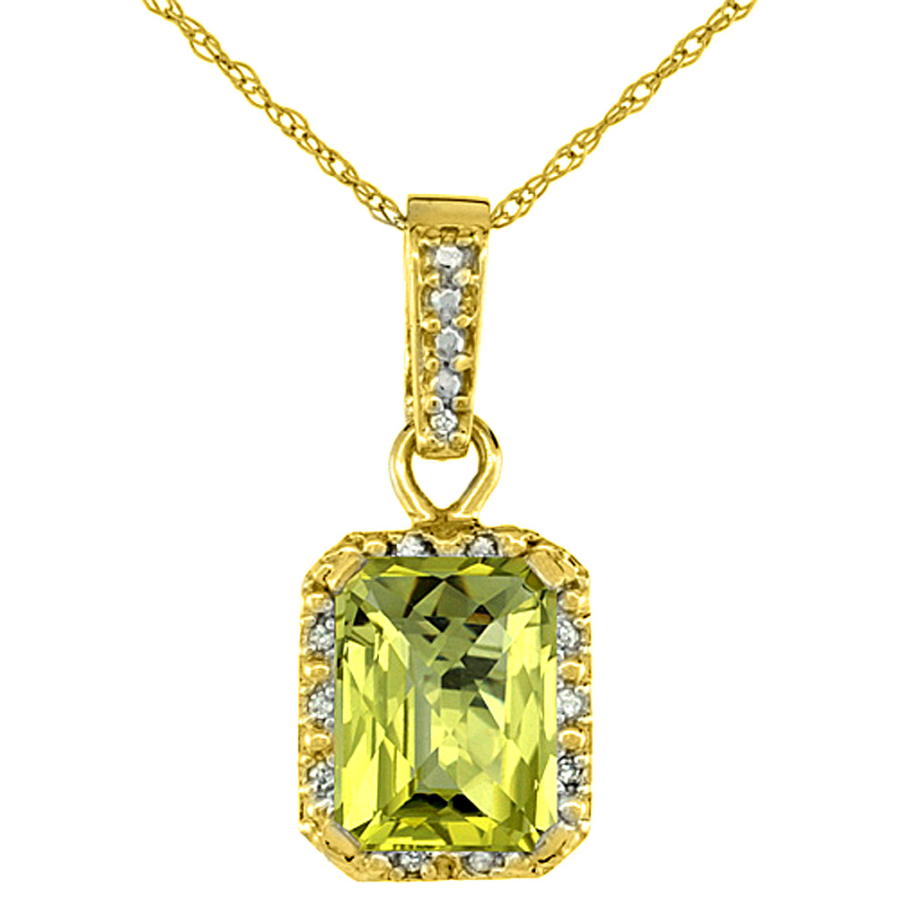 10K Yellow Gold Natural Lemon Quartz Pendant Octagon 8x6 mm & Diamond Accents