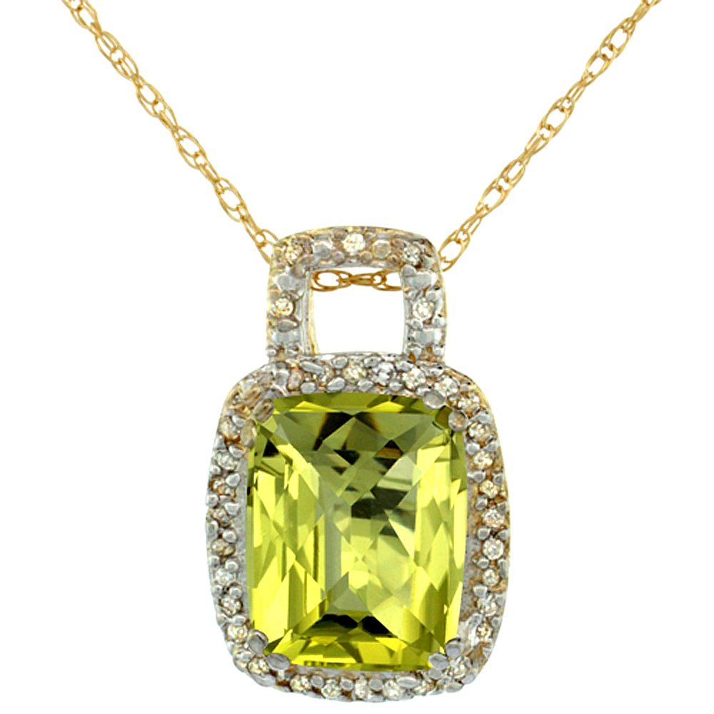 10K Yellow Gold Natural Lemon Quartz Pendant Octagon Cushion 10x8 mm & Diamond Accents