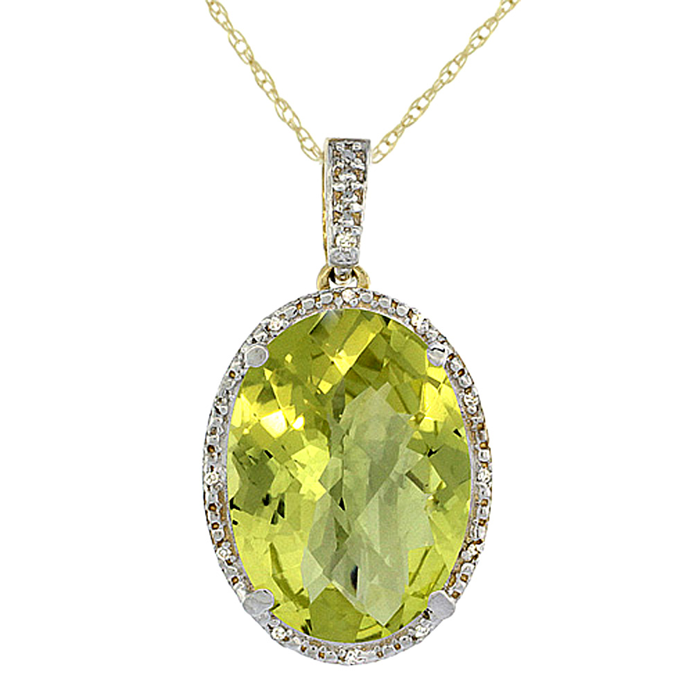 10K Yellow Gold Diamond Natural Lemon Quartz Pendant Oval 18x13 mm