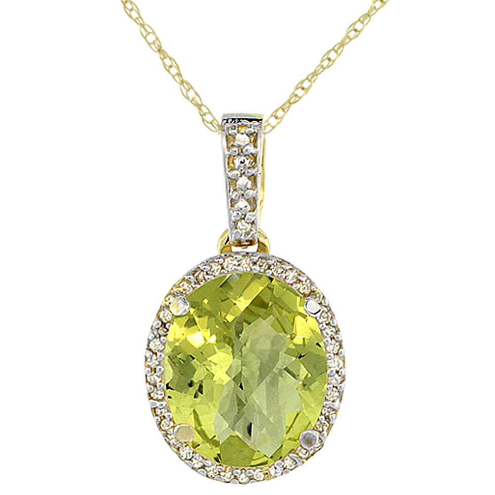 10K Yellow Gold Natural Lemon Quartz Pendant Oval 11x9 mm