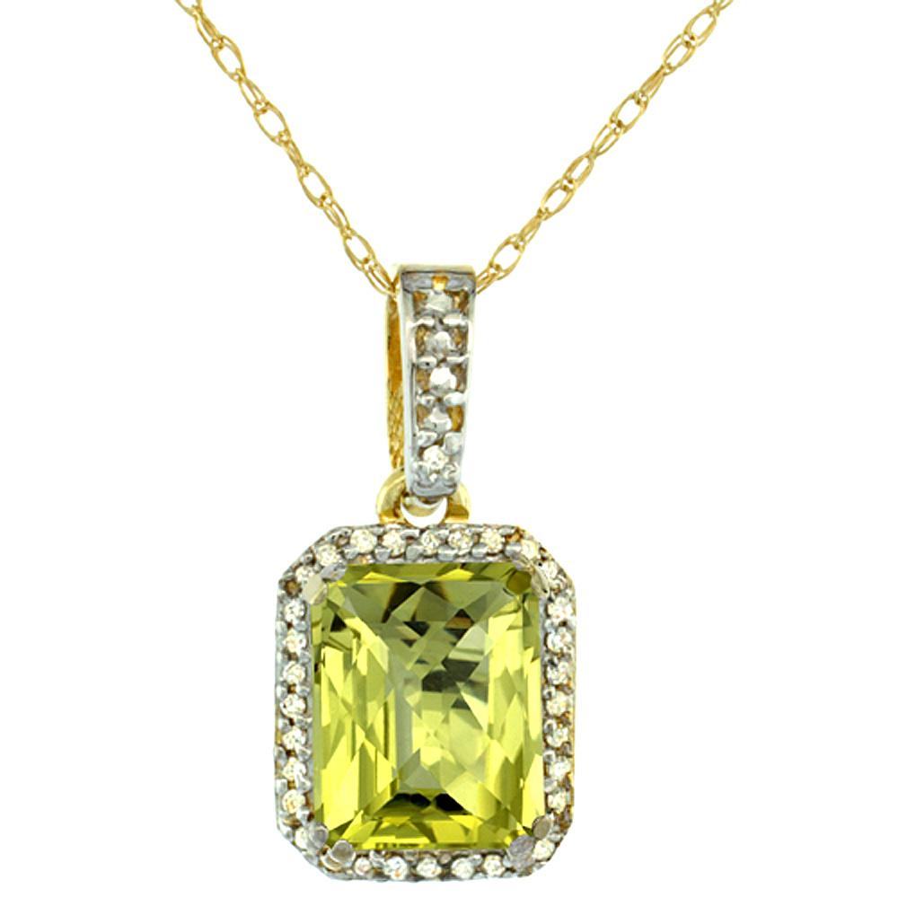 10K Yellow Gold Diamond Natural Lemon Quartz Pendant Octagon 9x7 mm