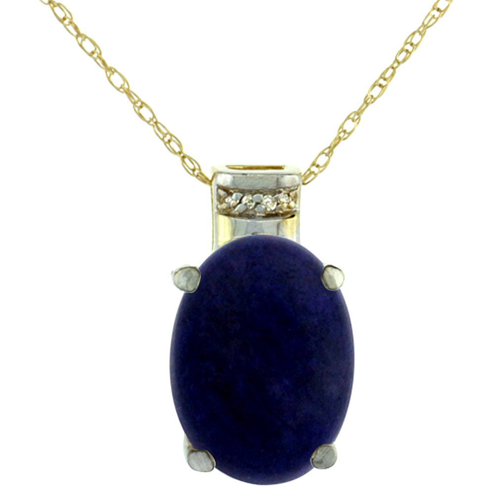 10K Yellow Gold Diamond Natural Lapis Pendant Oval 14x10 mm