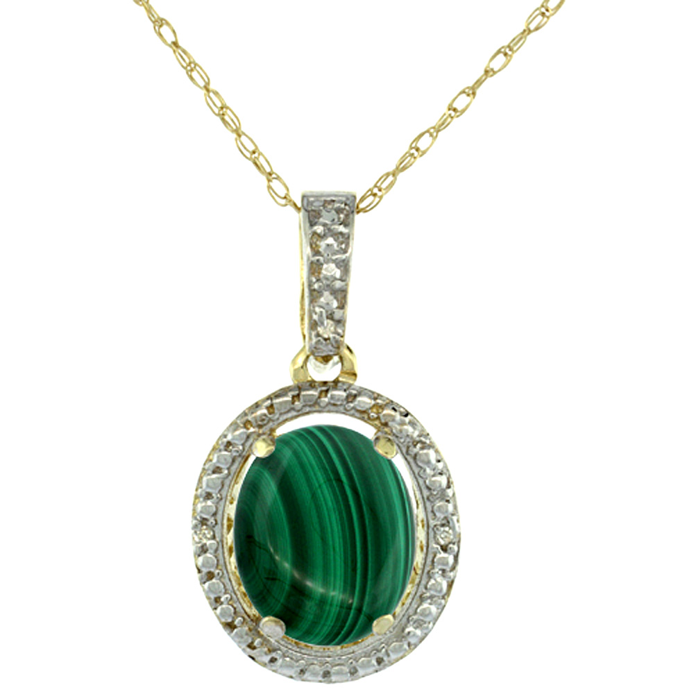 10K Yellow Gold 0.09 cttw Diamond Natural Malachite Pendant Oval 10x8 mm