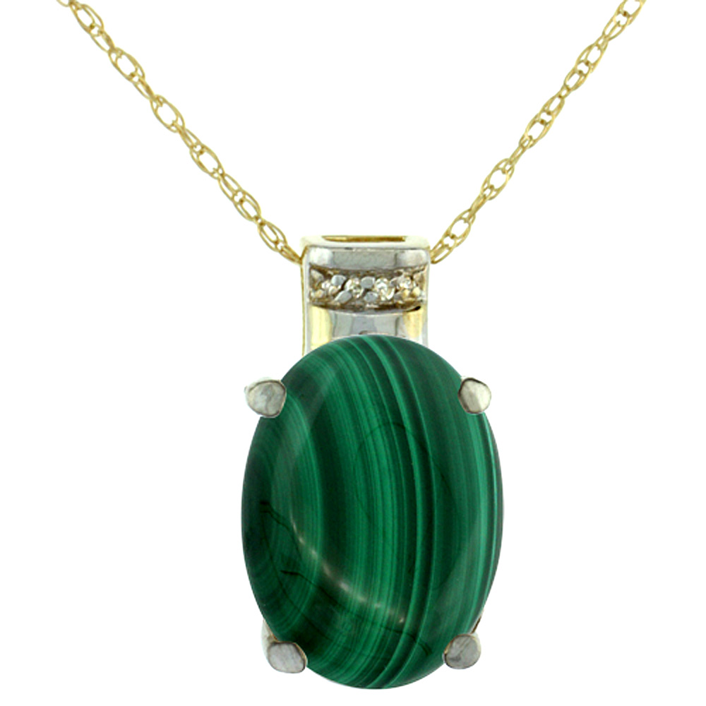 10K Yellow Gold Diamond Natural Malachite Pendant Oval 14x10 mm