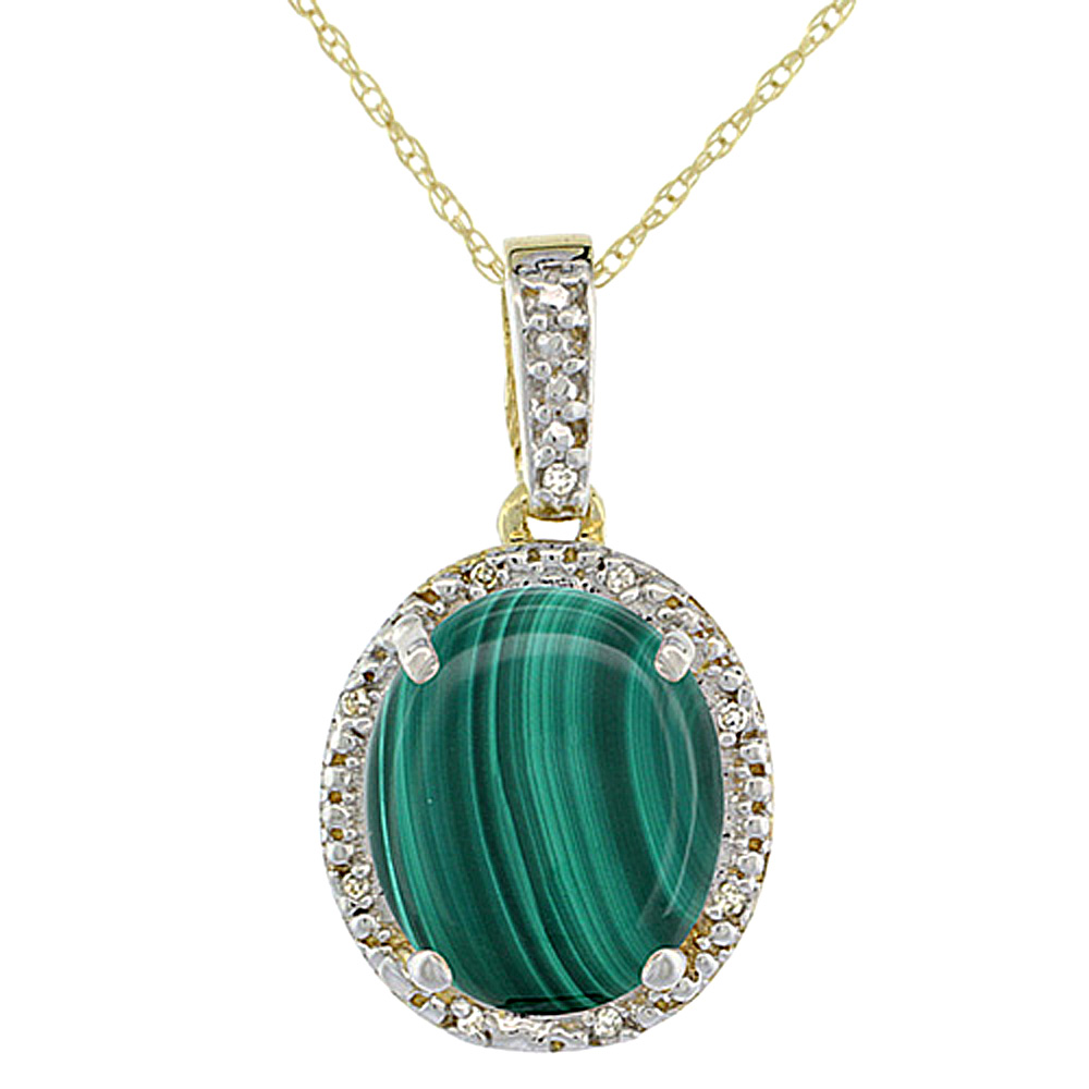 10K Yellow Gold Diamond Natural Malachite Pendant Oval 12x10 mm