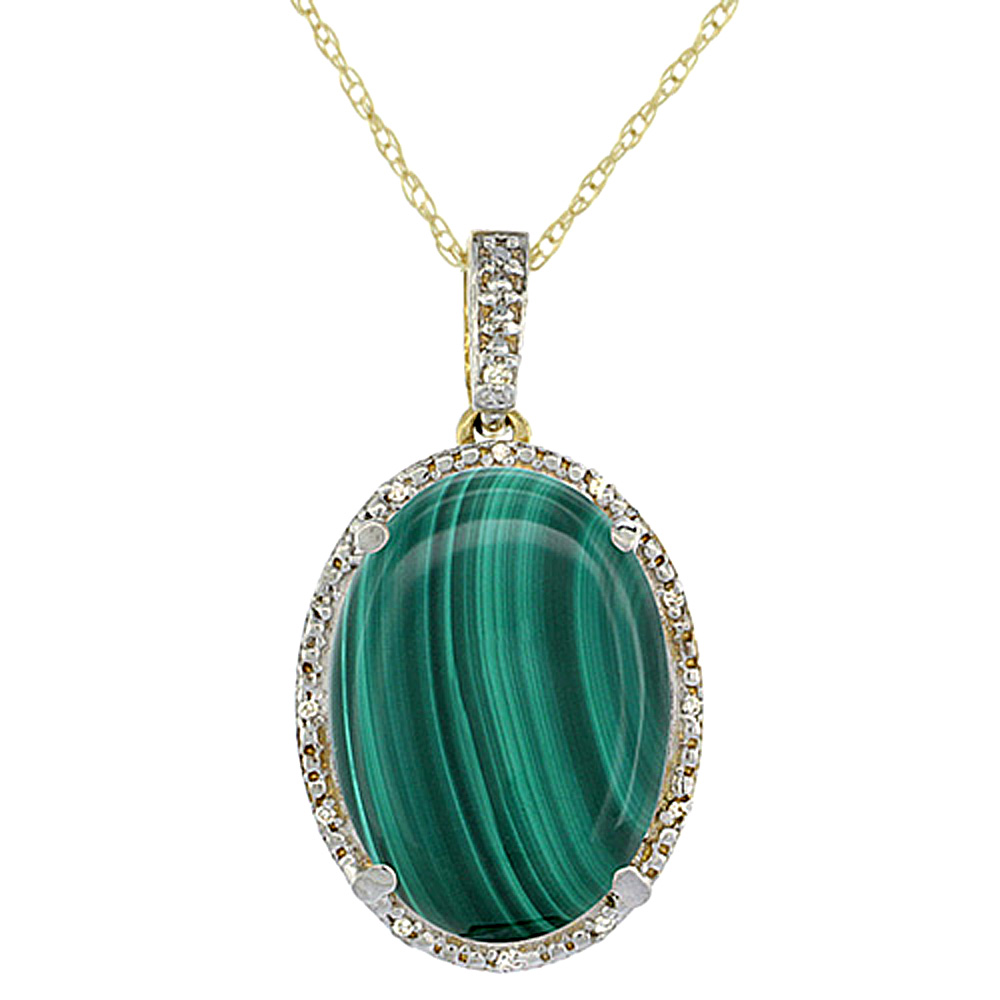 10K Yellow Gold Diamond Natural Malachite Pendant Oval 18x13 mm