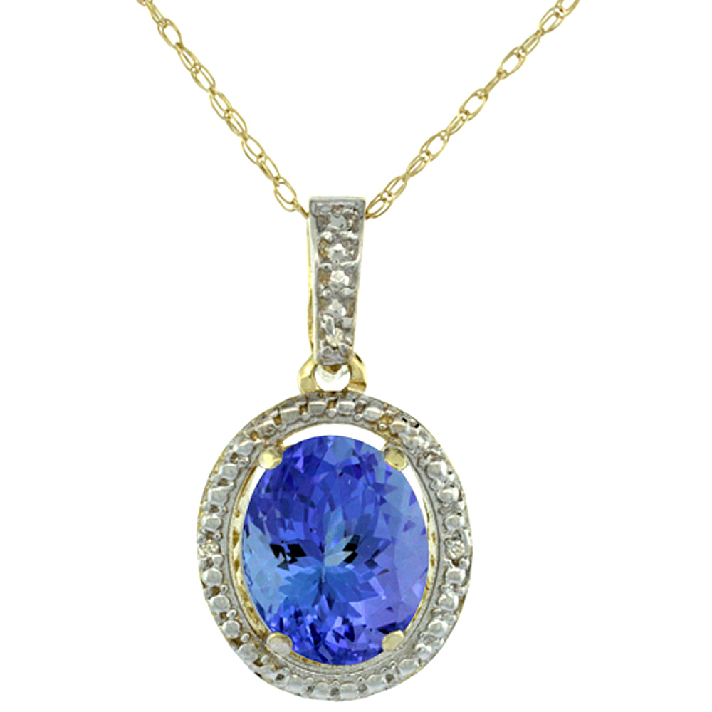 10K Yellow Gold Diamond Natural Tanzanite Pendant Oval 10x8 mm