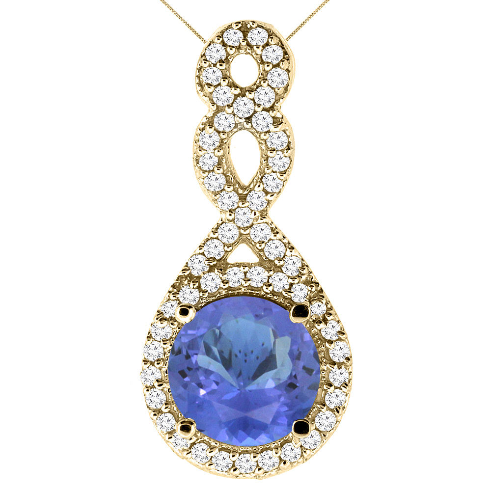 10K Yellow Gold Natural Tanzanite Eternity Pendant Round 7x7mm with 18 inch Gold Chain