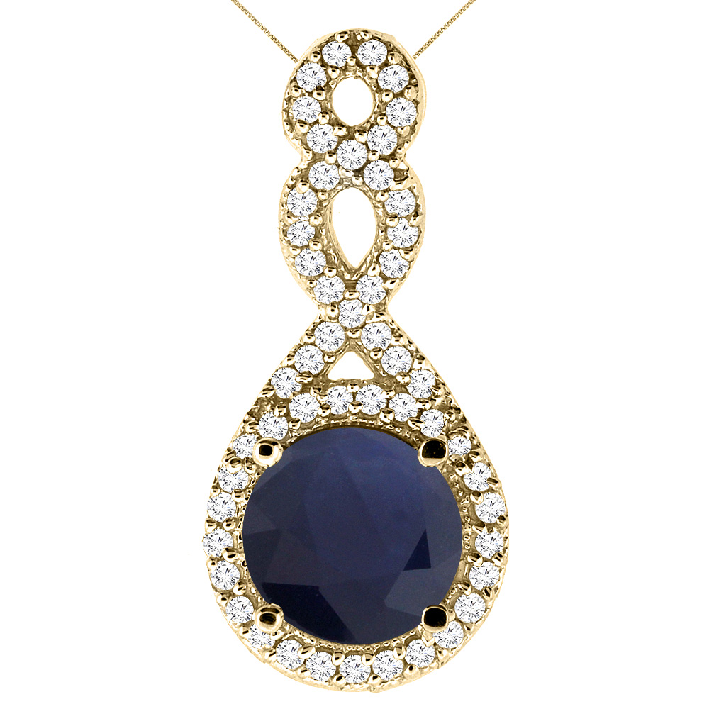 10K Yellow Gold Natural High Quality Blue Sapphire Eternity Pendant Round 7x7mm with 18 inch Gold Chain