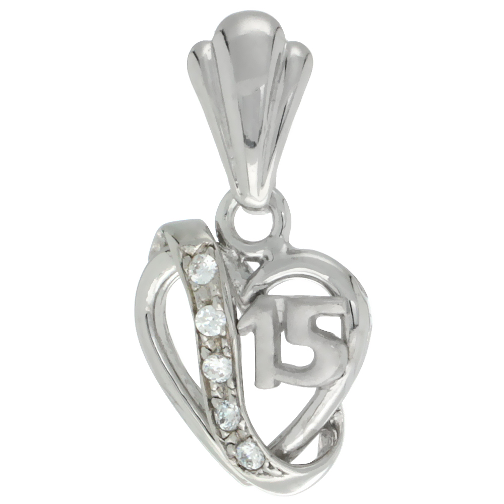 Sterling Silver Quinceanera 15 Anos Heart Pendant CZ Stones Rhodium Finished, 19/32 inch long