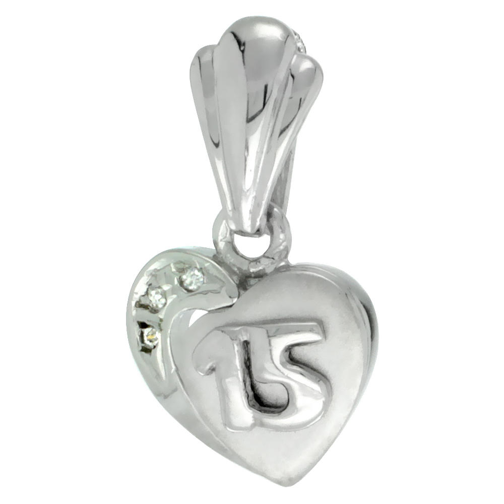 Sterling Silver Quinceanera 15 Anos Heart Pendant CZ Stones Rhodium Finished, 15/32 inch long