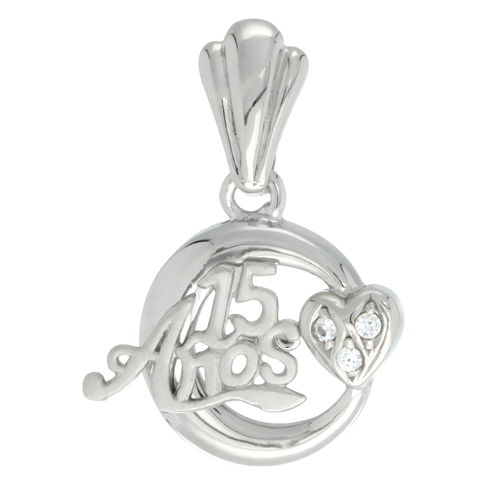 Sterling Silver Quinceanera 15 Anos Heart Pendant CZ Stones Rhodium Finished, 11/16 inch long
