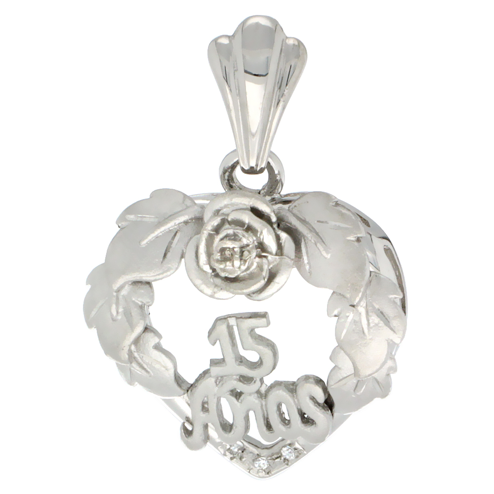 Sterling Silver Quinceanera 15 Anos Heart Wreath Pendant CZ Stones Rhodium Finished, 13/16 inch long