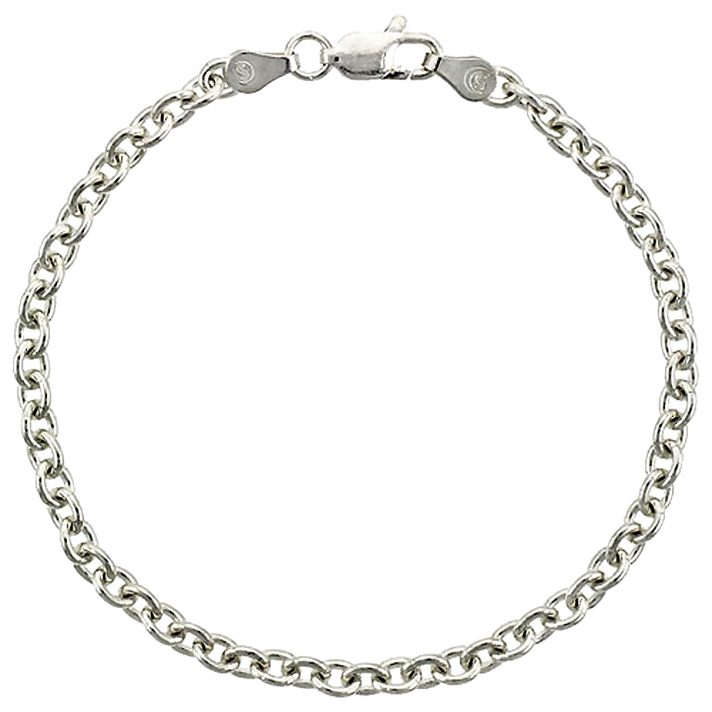 Sterling Silver Cable Link Chain Necklaces & Bracelets 3.8mm Nickel Free Italy, sizes 7 - 30 inches