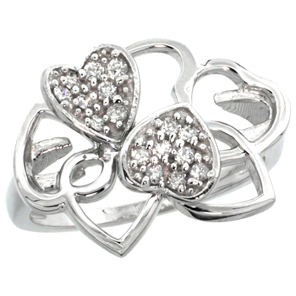 10K Gold Twin Hearts Diamond Ring, sizes 5 - 10