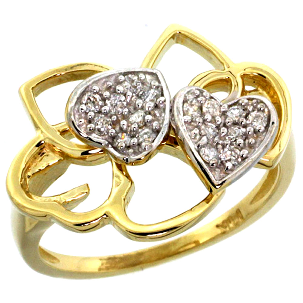 10K Yellow Gold Twin Hearts Diamond Ring
