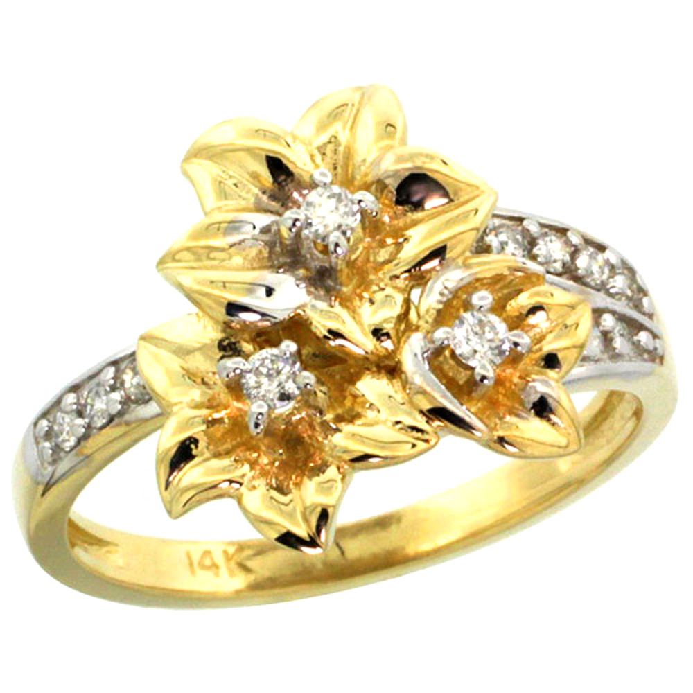 10K Yellow Gold Triple Plumeria Flower Ring with Diamond 0.27cttw, 5/8 inch wide