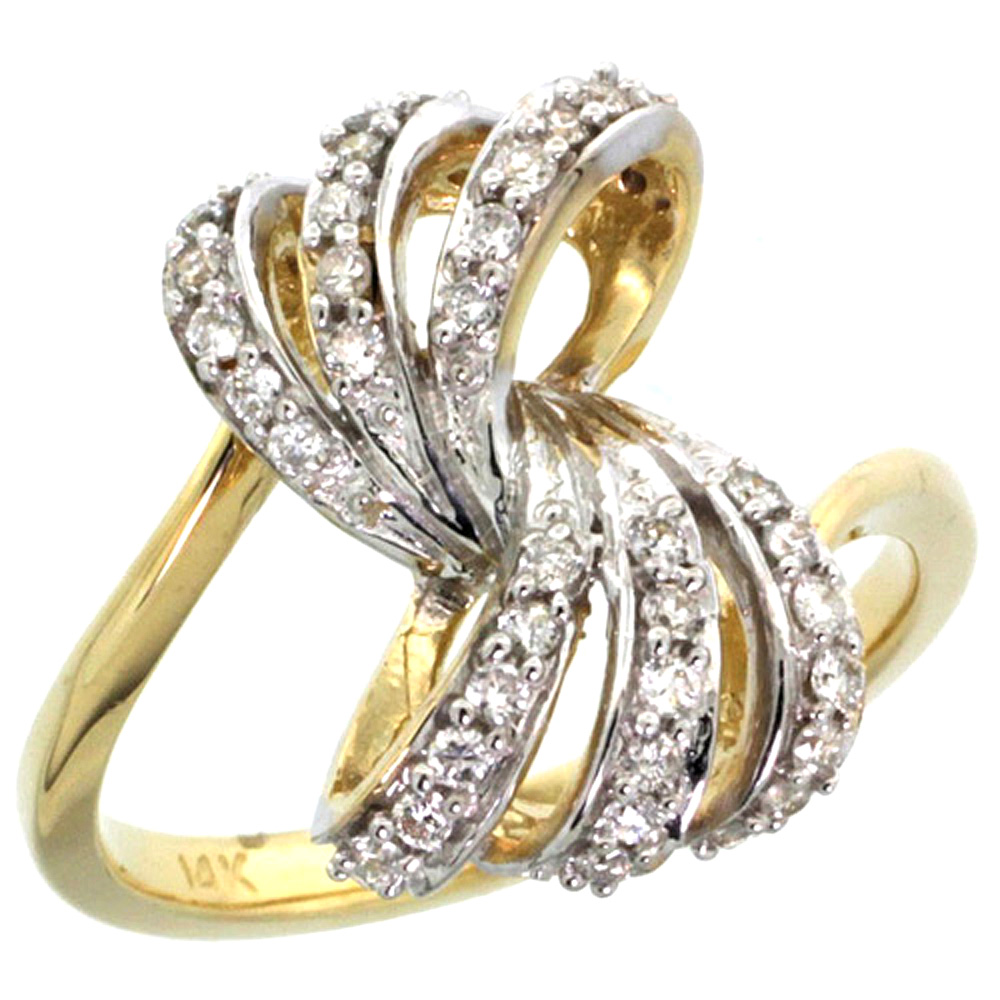 10K Yellow Gold Ribbon Diamond Ring 0.39 cttw, 11/16 inch wide
