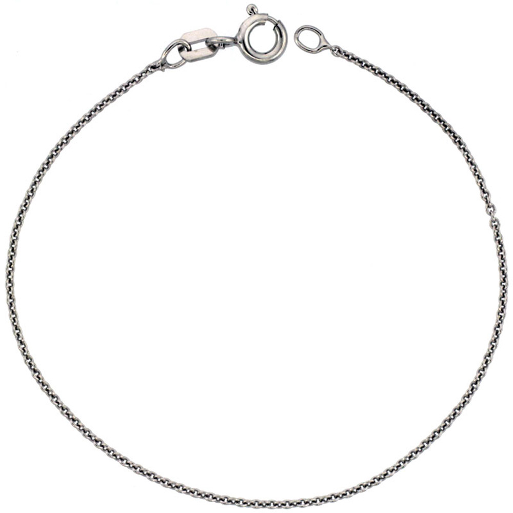 Sterling Silver Cable Chain Necklace 0.9mm Very Thin Rhodium finish Nickel Free Italy, sizes 16 - 20 inch