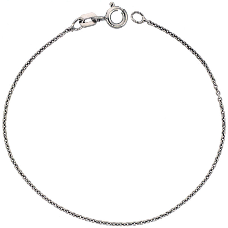 Sterling Silver Cable Chain Necklace 0.9mm Very Thin Rhodium finish, sizes 16 - 20 inch
