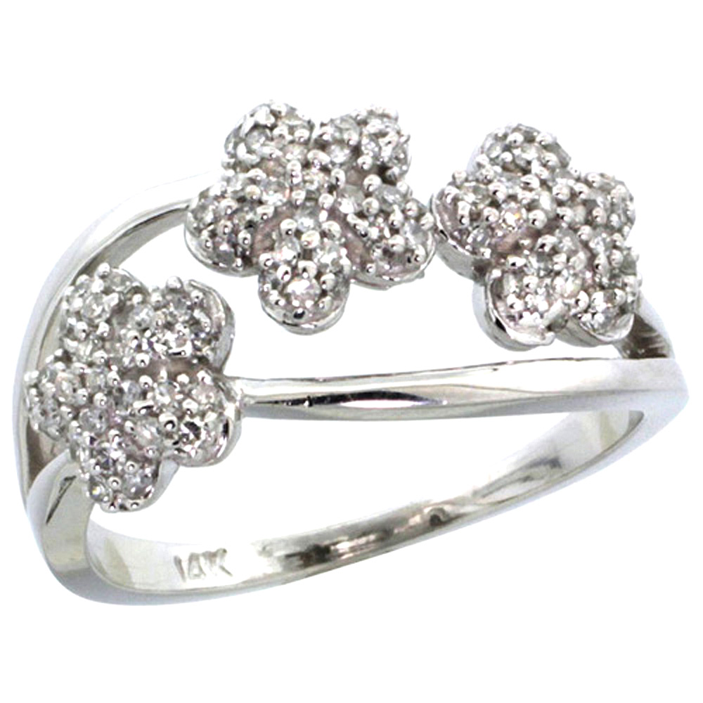 10K Gold Triple Flower Diamond Ring 0.50 cttw, 3/8 inch wide
