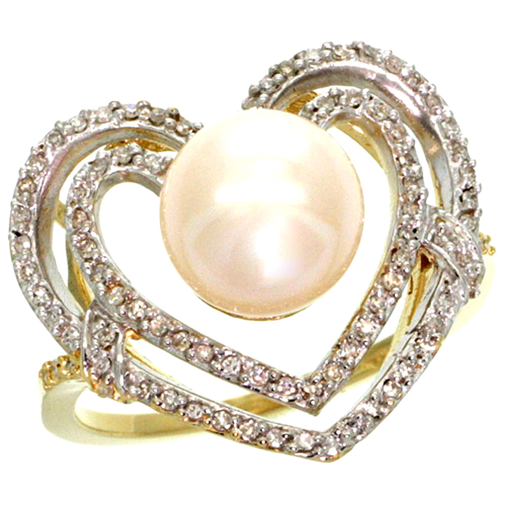 10K Yellow Gold Diamond Ring Heart-shape & 10 mm Pear with 0.26 cttw Diamond Accent