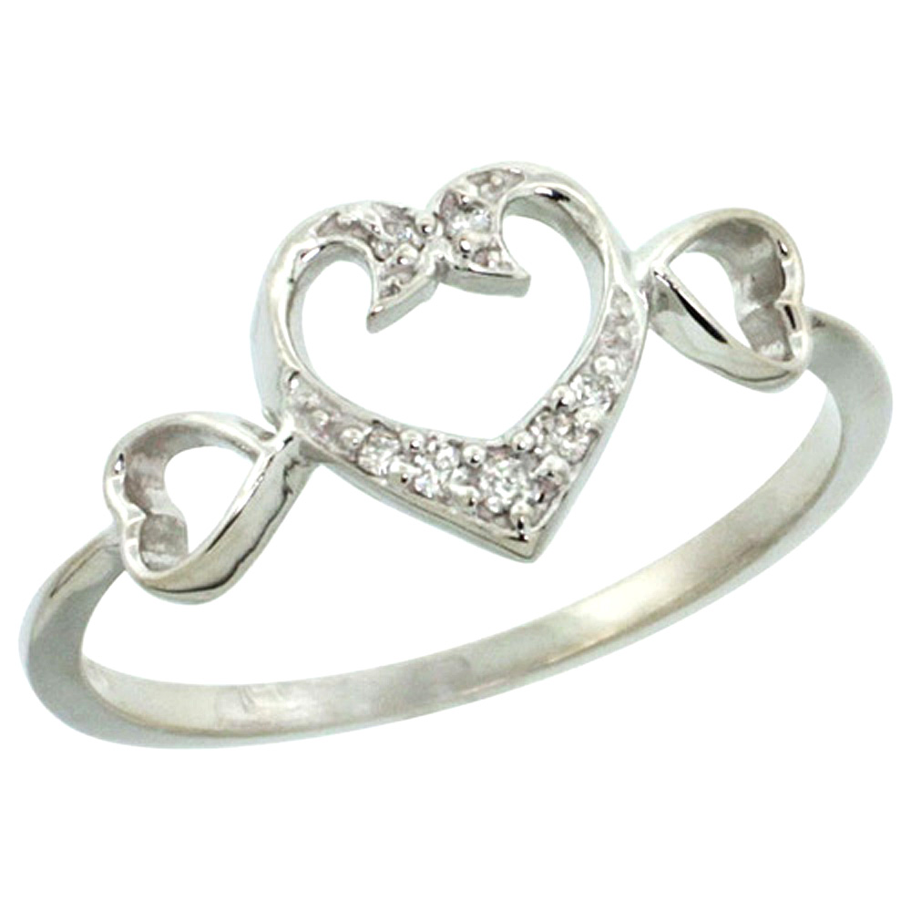 10K White Gold Heart Diamond Engagement Ring with 0.06 cttw, 11/32 inch wide
