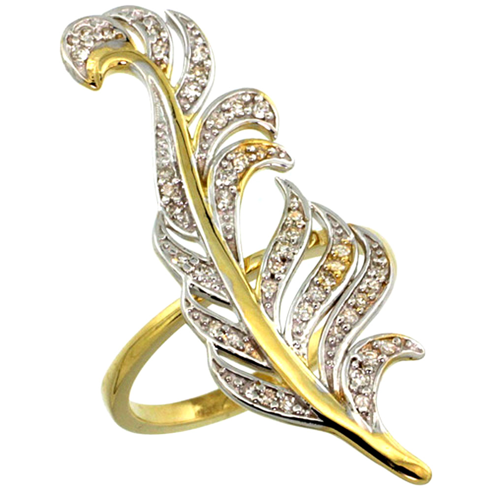 10K Yellow Gold Palm Leaf Ring with Diamond Accents 0.23 cttw, 1 3/8 inch wide