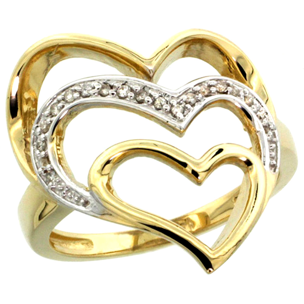 10K Yellow Gold Triple Heart Diamond Ring 0.09 cttw, 7/8 inch wide