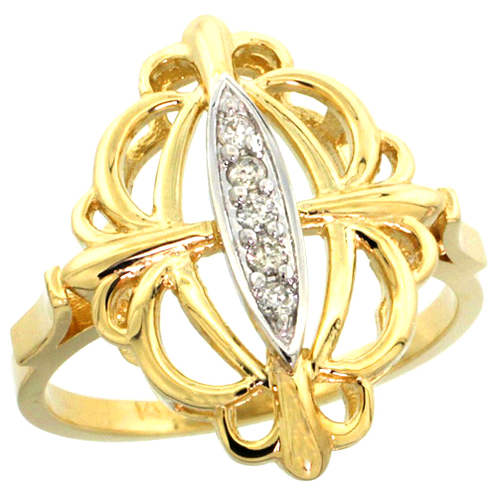 10K Yellow Gold Fleur De Lis Loop Diamond Ring 0.10 cttw, 13/16 inch wide