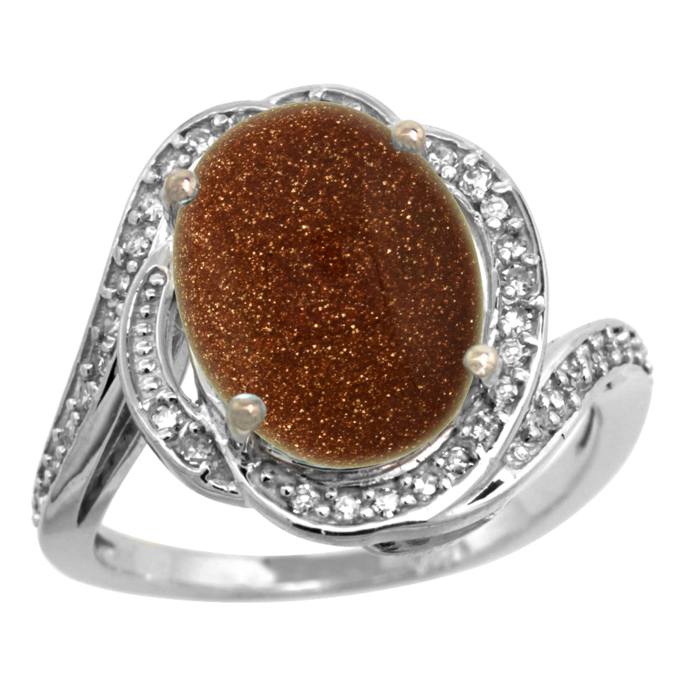 14k White Gold Diamond 0.3ct Genuine Goldstone Bypass Ring 12x10mm Oval 11/16 inch wide, size 5-10