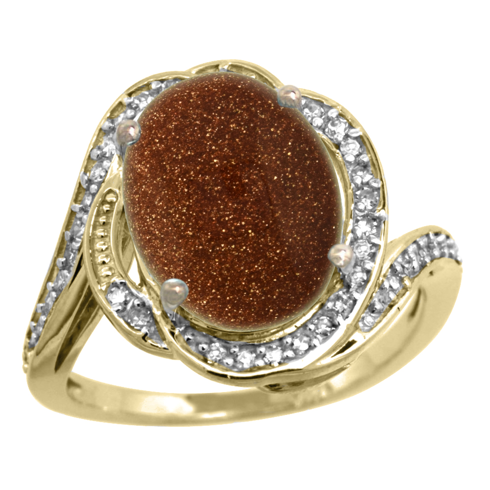 14k Yellow Gold Diamond 0.3ct Genuine Goldstone Bypass Ring 12x10mm Oval 11/16 inch wide, size 5-10