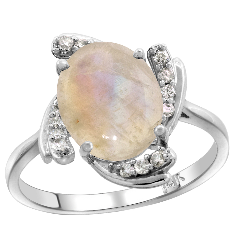 14k White Gold Diamond Genuine Rainbow Moonstone Engagement Ring Swirl Cabochon Oval 10x8mm, size 5-10