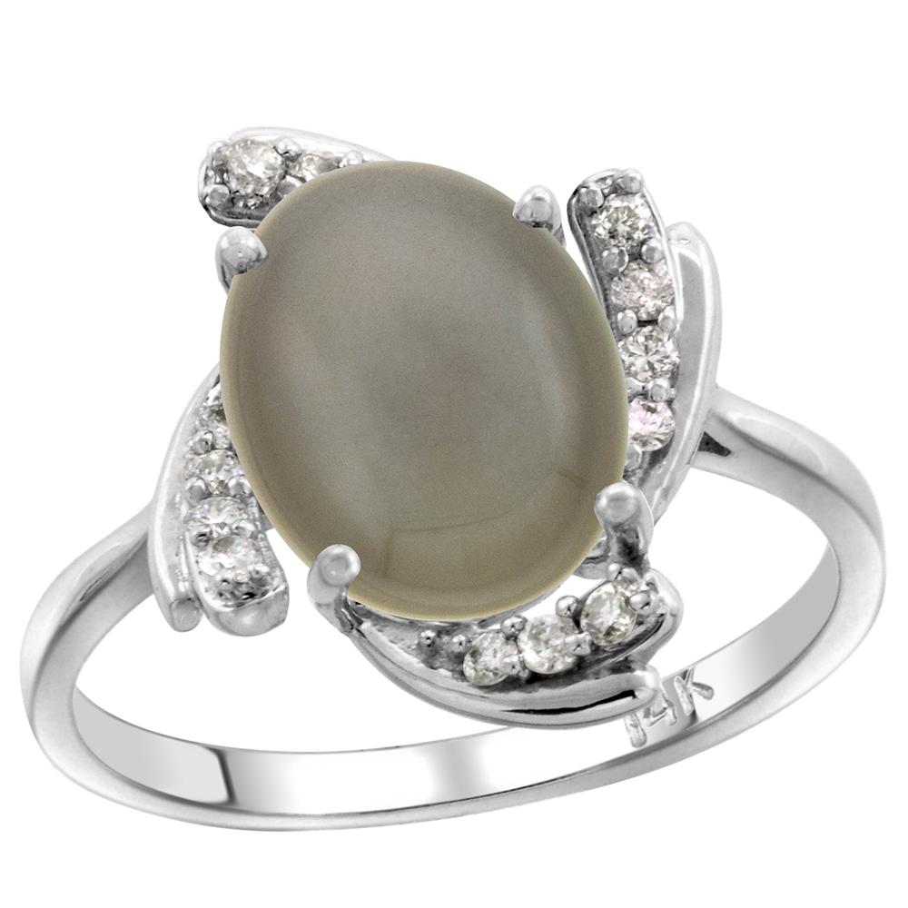 14k White Gold Diamond Genuine Gray Moonstone Engagement Ring Swirl Cabochon Oval 10x8mm, size 5-10