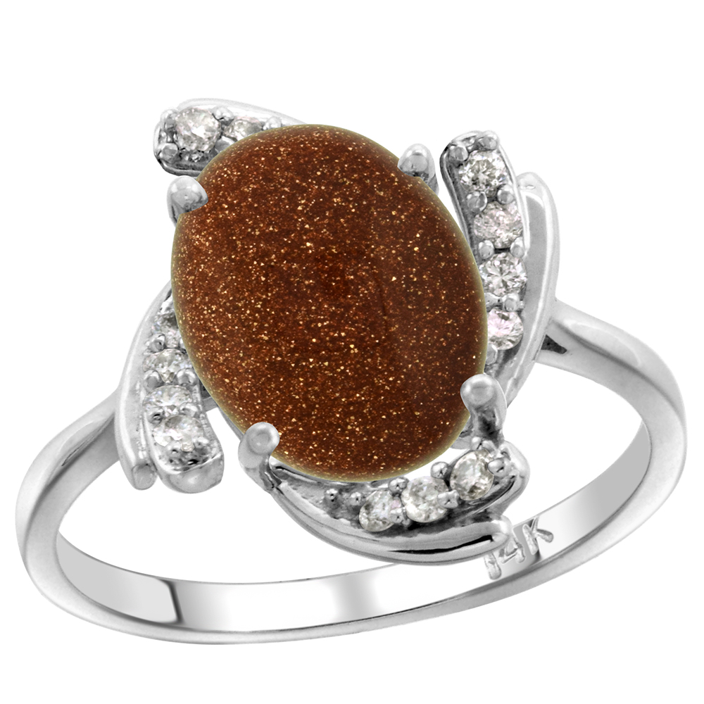 14k White Gold Diamond Genuine Goldstone Engagement Ring Swirl Cabochon Oval 10x8mm 0.15cttw, size 5