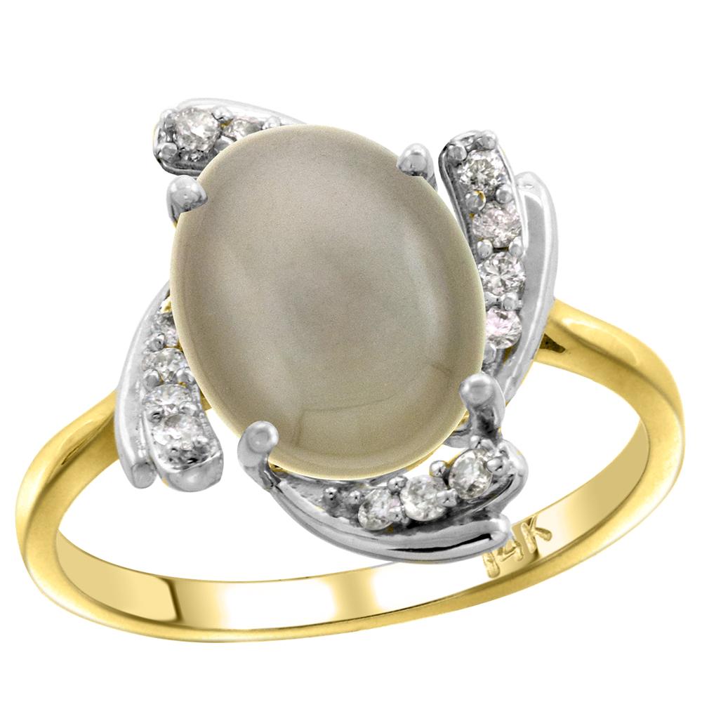 14k Yellow Gold Diamond Genuine Light Gray Moonstone Engagement Ring Swirl Cabochon Oval 10x8mm, size 5-10
