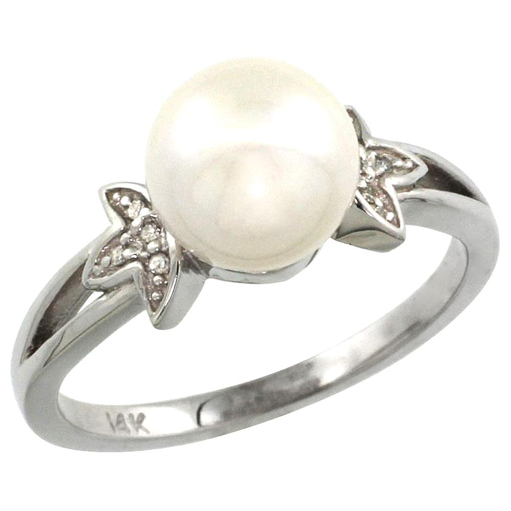 14k White Gold Round 9mm Genuine White Pearl Split Shank Ring 0.04 ct Diamond 3/8 inch wide, size 5-10