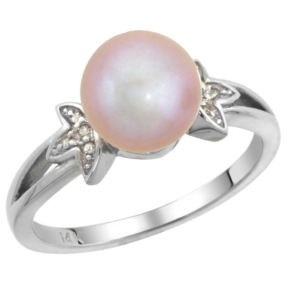 14k White Gold Round 9mm Genuine Pink Pearl Split Shank Ring 0.04 ct Diamond 3/8 inch wide, size 5-10