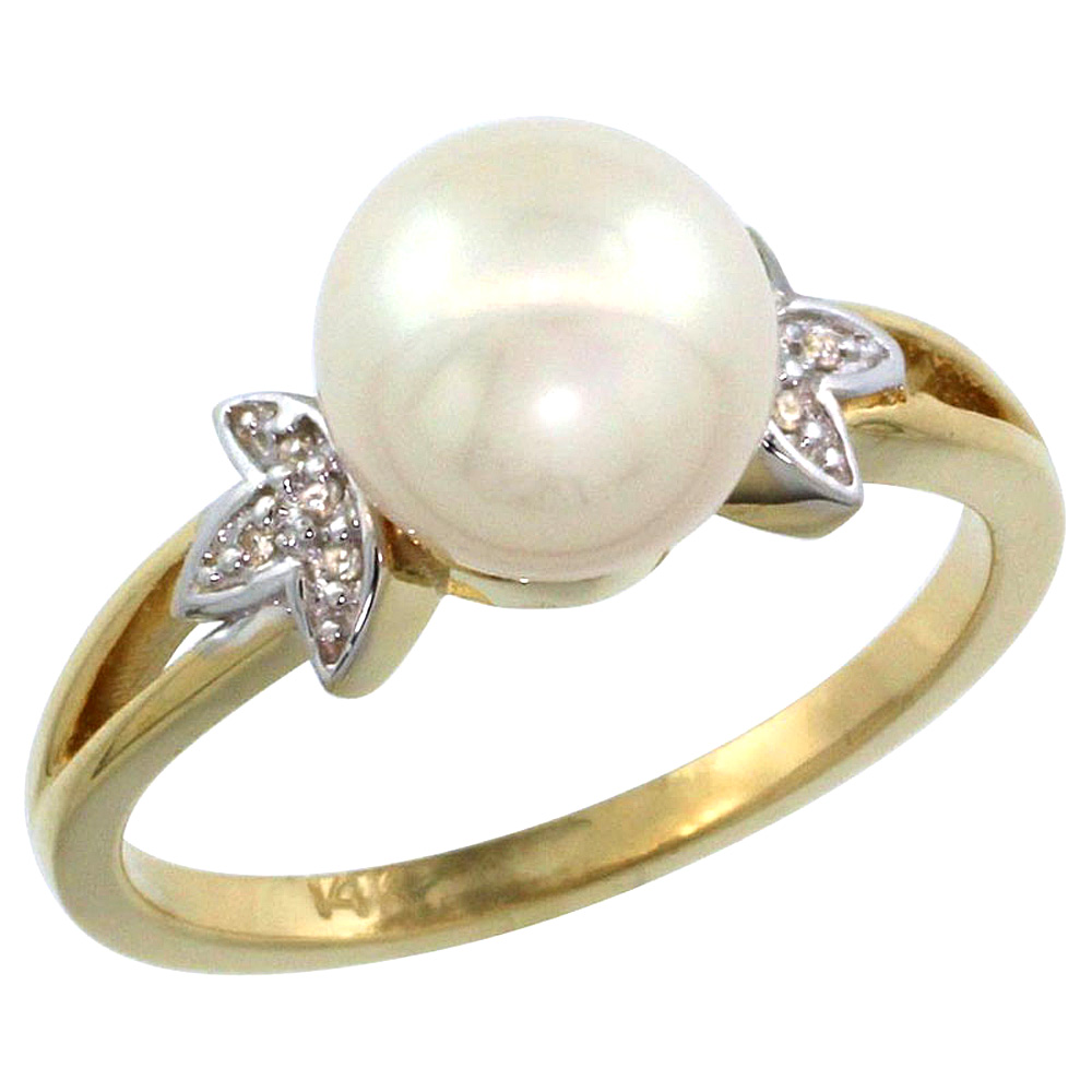 14k Yellow Gold Round 9mm Genuine White Pearl Split Shank Ring 0.04 ct Diamond 3/8 inch wide, size 5-10