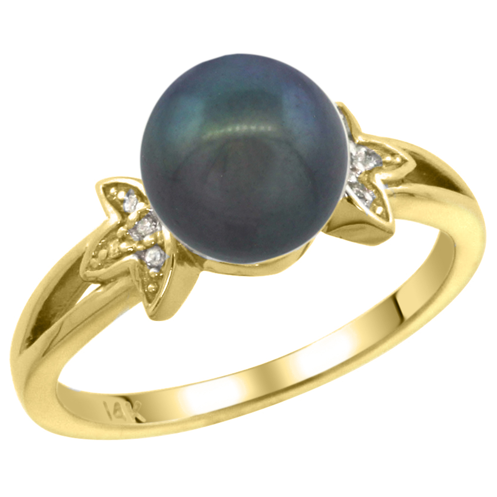 14k Yellow Gold Round 9mm Genuine Black Pearl Split Shank Ring 0.04 ct Diamond 3/8 inch wide, size 5-10