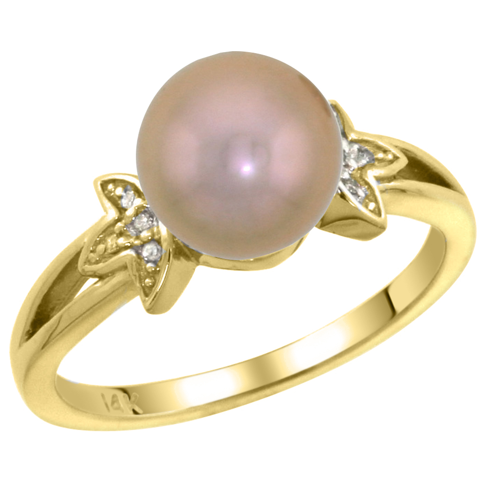 14k Yellow Gold Round 9mm Genuine Brown Pearl Split Shank Ring 0.04 ct Diamond 3/8 inch wide, size 5-10
