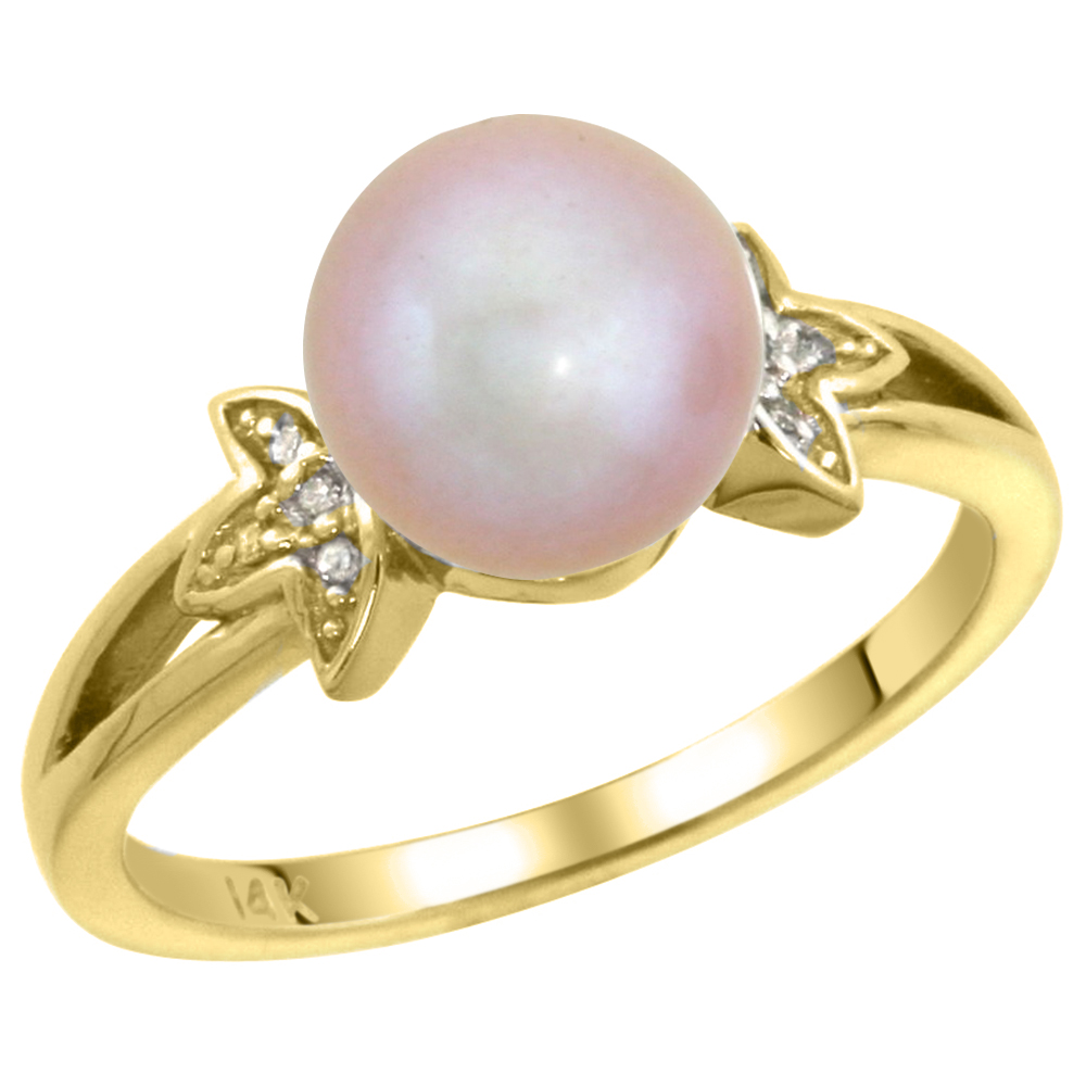 14k Yellow Gold Round 9mm Genuine Pink Pearl Split Shank Ring 0.04 ct Diamond 3/8 inch wide, size 5-10