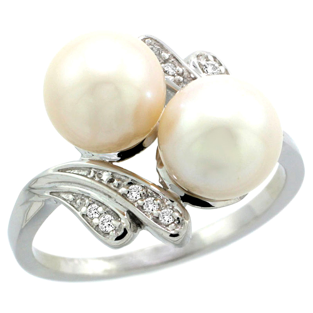 14k White Gold Diamond 7mm Round White Pearl Bypass Ring 0.05 ct Round Brilliant cut 9/16 inch, size 5-10