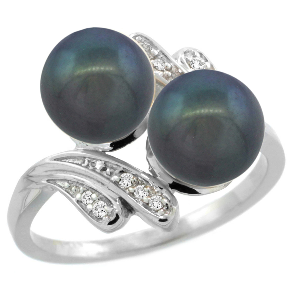 14k White Gold Diamond 7mm Round Black Pearl Bypass Ring 0.05 ct Round Brilliant cut 9/16 inch, size 5-10