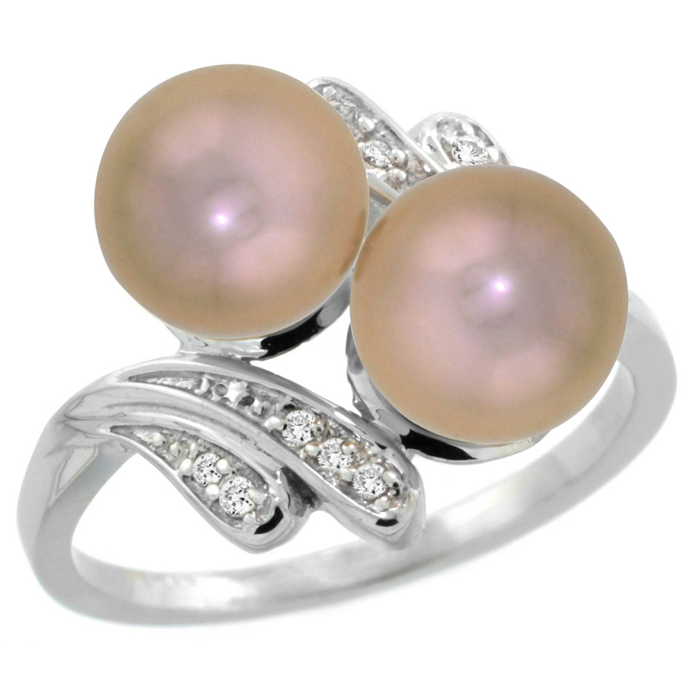 14k White Gold Diamond 7mm Round Brown Pearl Bypass Ring 0.05 ct Round Brilliant cut 9/16 inch, size 5-10