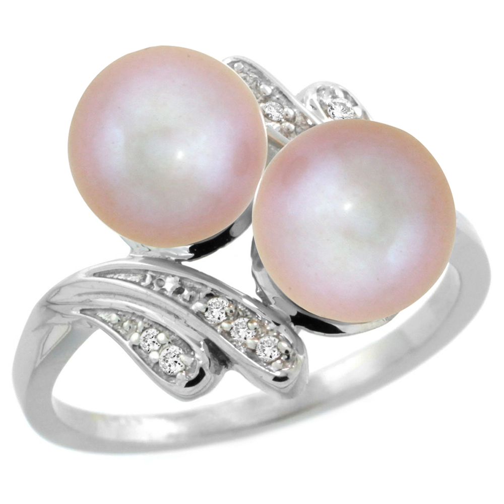 14k White Gold Diamond 7mm Round Pink Pearl Bypass Ring 0.05 ct Round Brilliant cut 9/16 inch, size 5-10